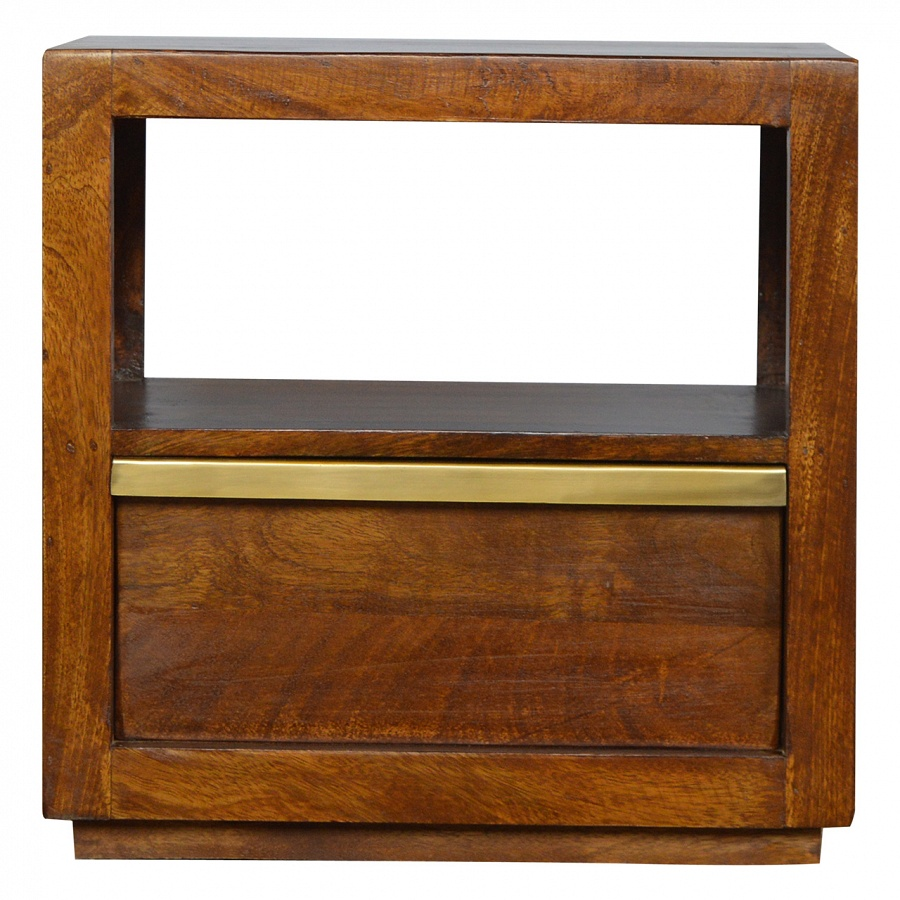 1 Drawer Chestnut Bedside with Gold Pull out Bar