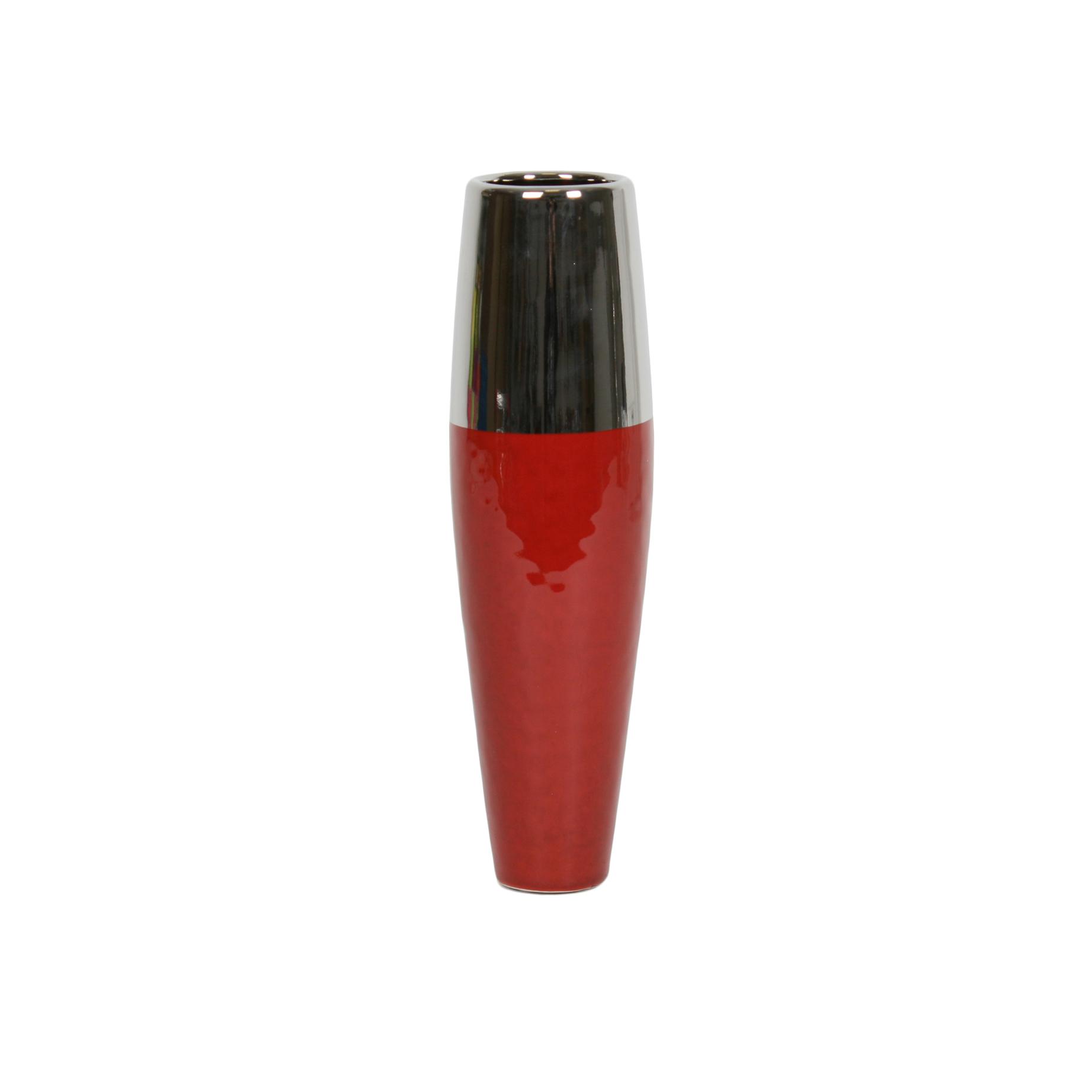 Red/Silver Bullet Vase 30cm