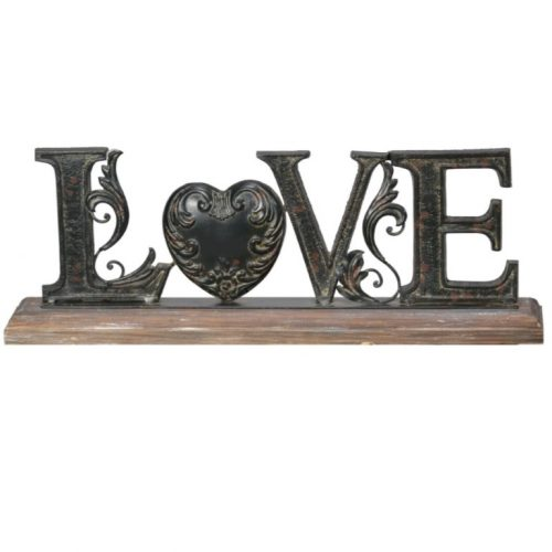 Antiqued Love Heart Motto Stand
