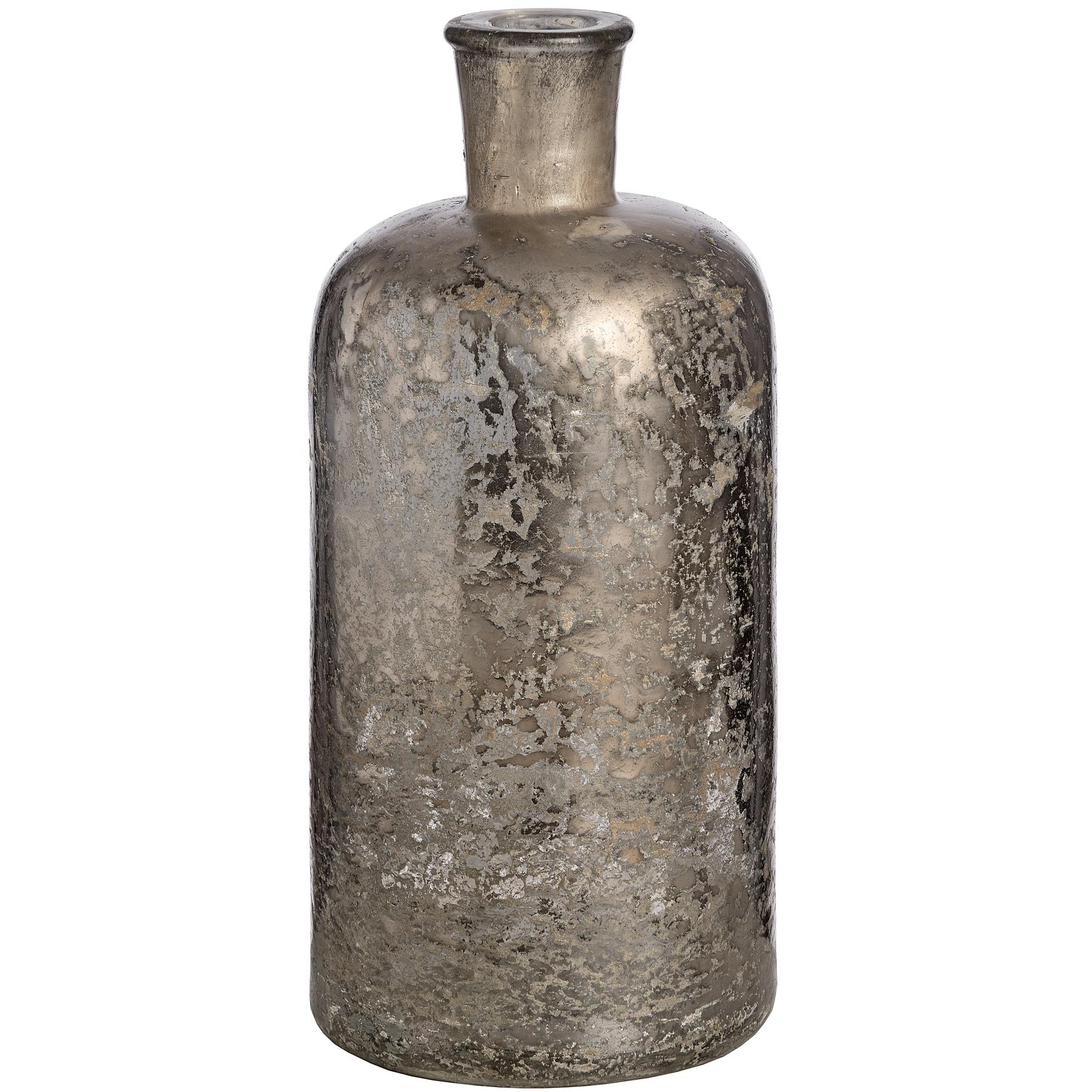 Antique Silver Mercury Glass Bottle Vase