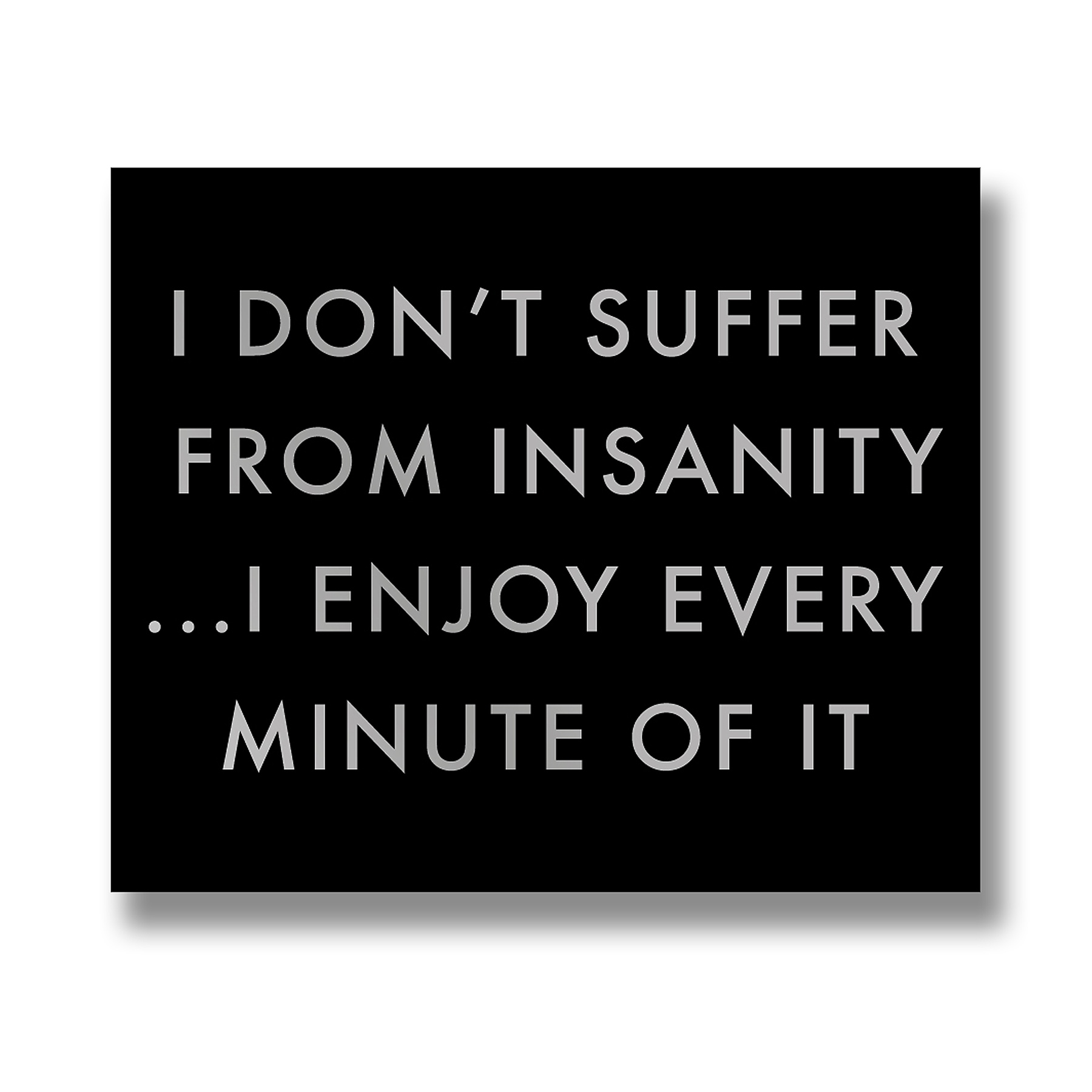 I Don't Suffer From Insanity Metallic Detail Plaque