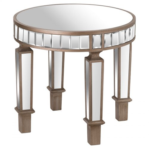 The Belfry Collection Mirrored Round Side Table