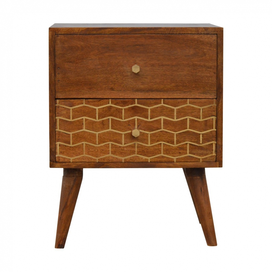 2 Drawer Chestnut Bedside with Gold Patterned Drawer Front