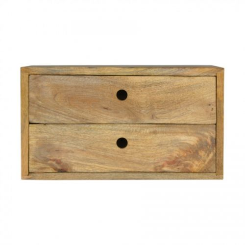 2 Drawer Solid Wall Mounted Bedside