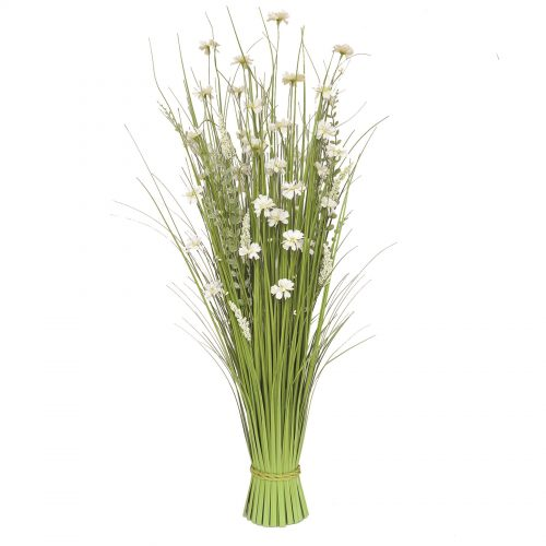 Grass Bundle White Flowers 70cm