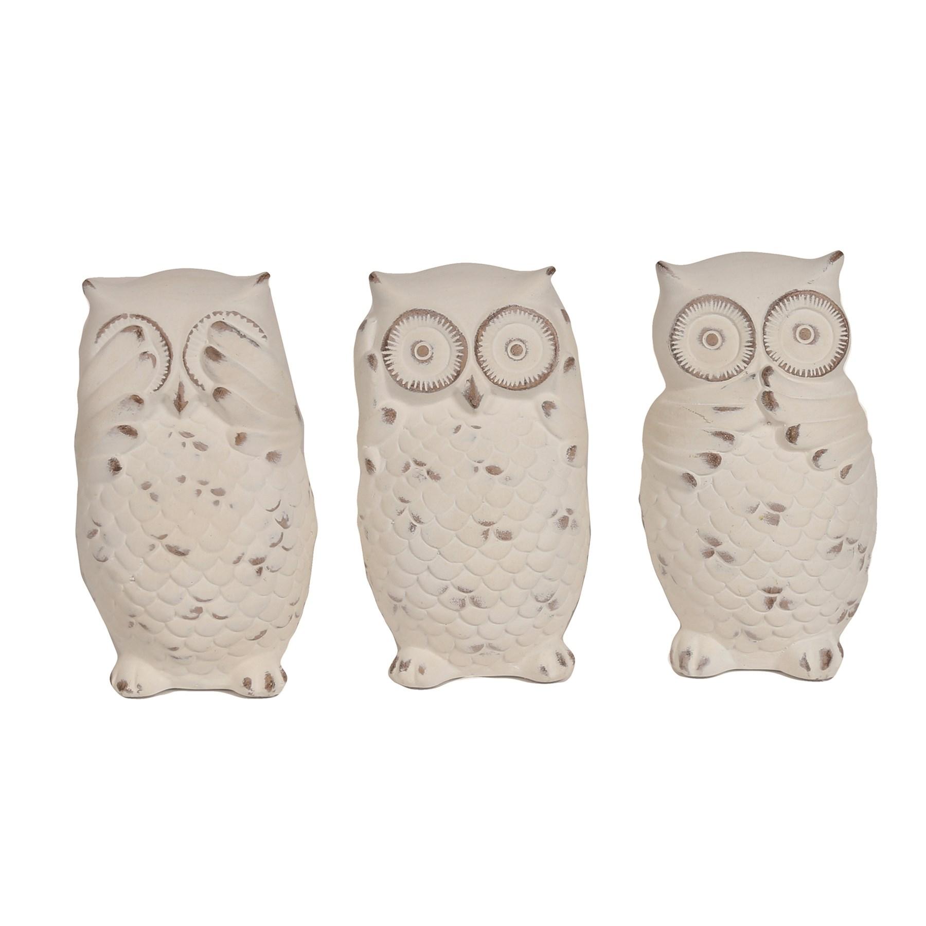 Set of 3 Owls White 13cm