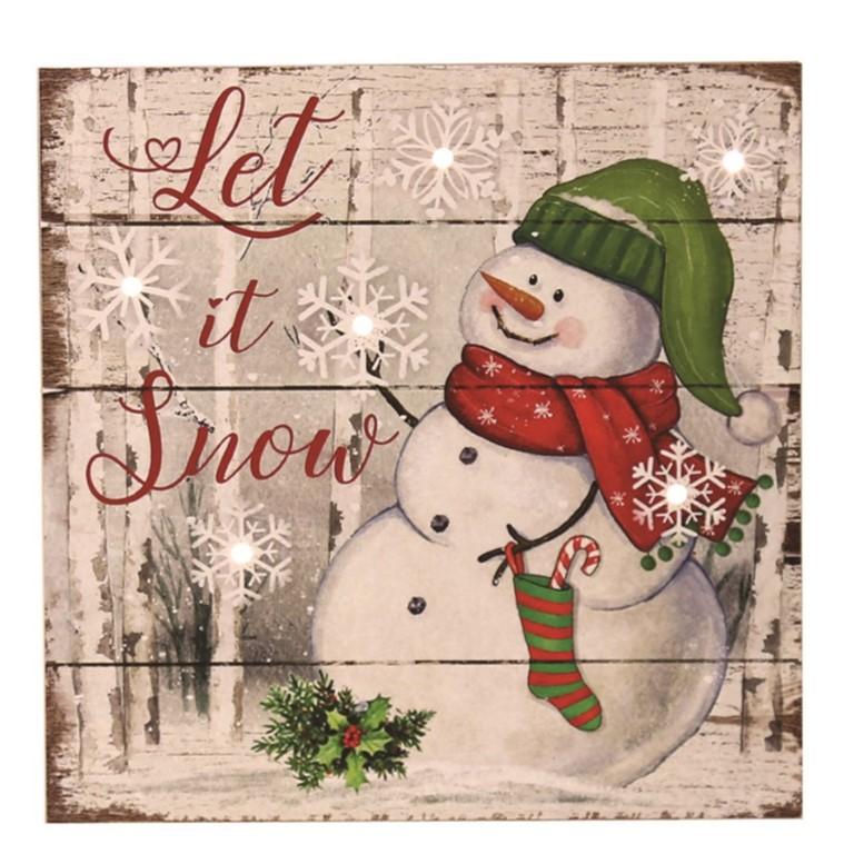 LED Snowman Let It Snow 20cm