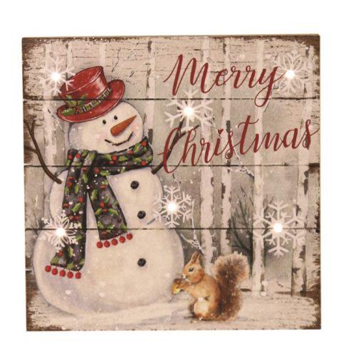 LED Snowman Merry Christmas Plaque 20cm