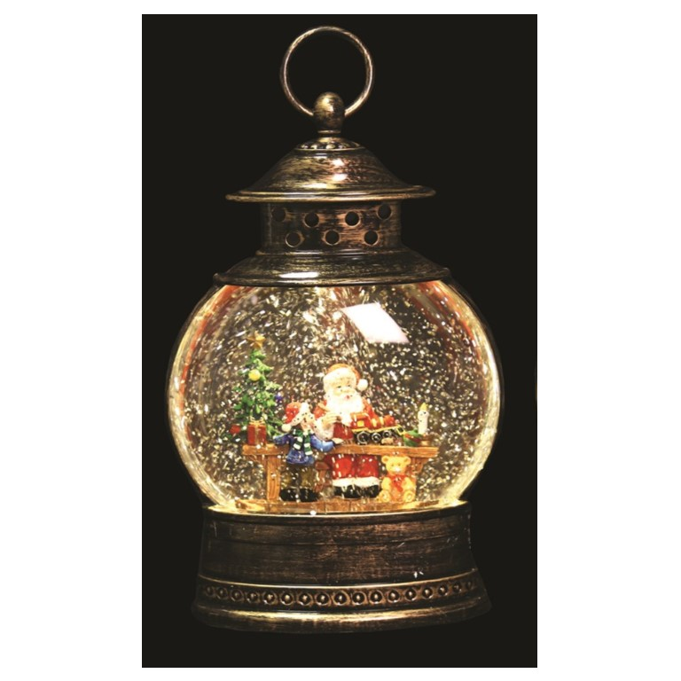 Father Christmas Water Spinner Lantern 25cm