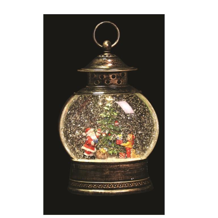 Santa And Tree Water Spinner Lantern 25cm