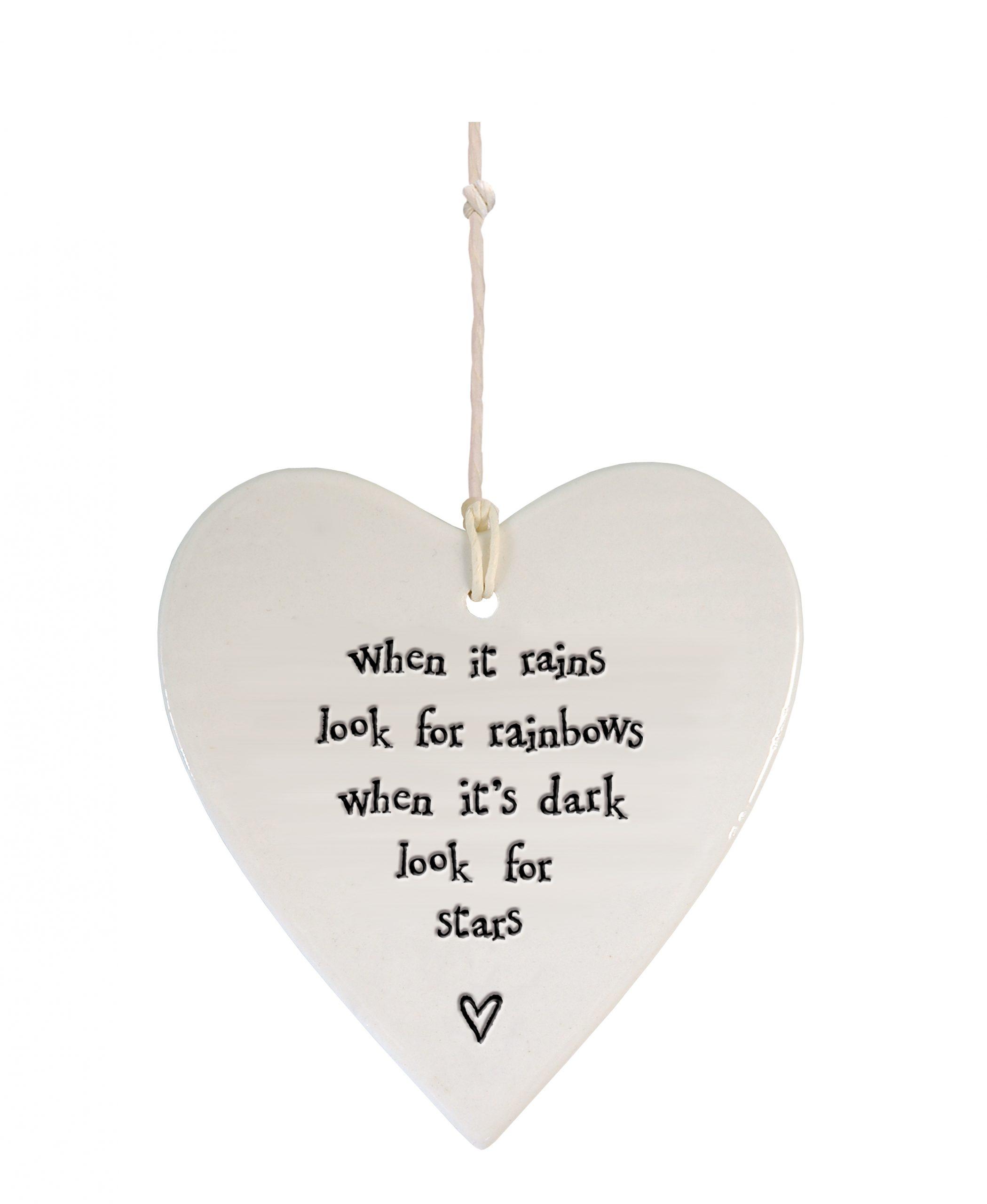 Porcelain round heart When it rains