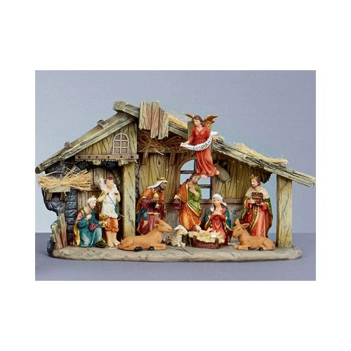 Nativity Christmas Set, 11 Piece Crib Stable, Traditional Decoration Ornament