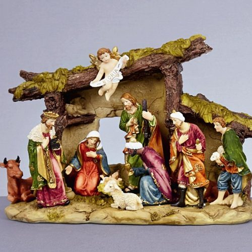 30cm X 22cm Premier Christmas Nativity Scene Stable & Porcelain Figures