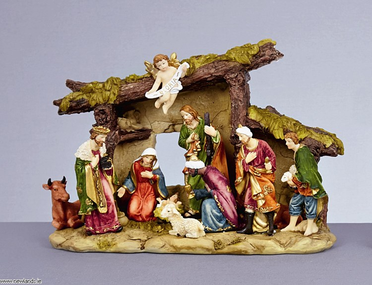 30cm X 22cm Premier Christmas Nativity Scene Stable & Porcelain Figures