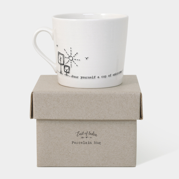 East of India Boxed Mug (Pour Yourself a Cup of Ambition) - With Box