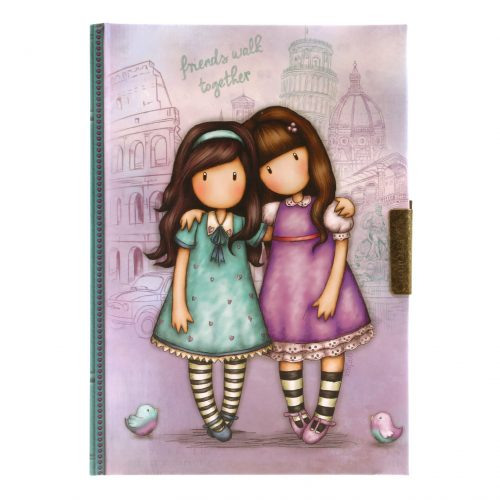 Gorjuss Cityscape Lockable Notebook - Friends Walk Together