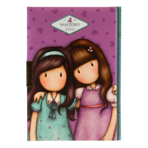 Gorjuss Cityscape Lockable Notebook - Friends Walk Together (Back)