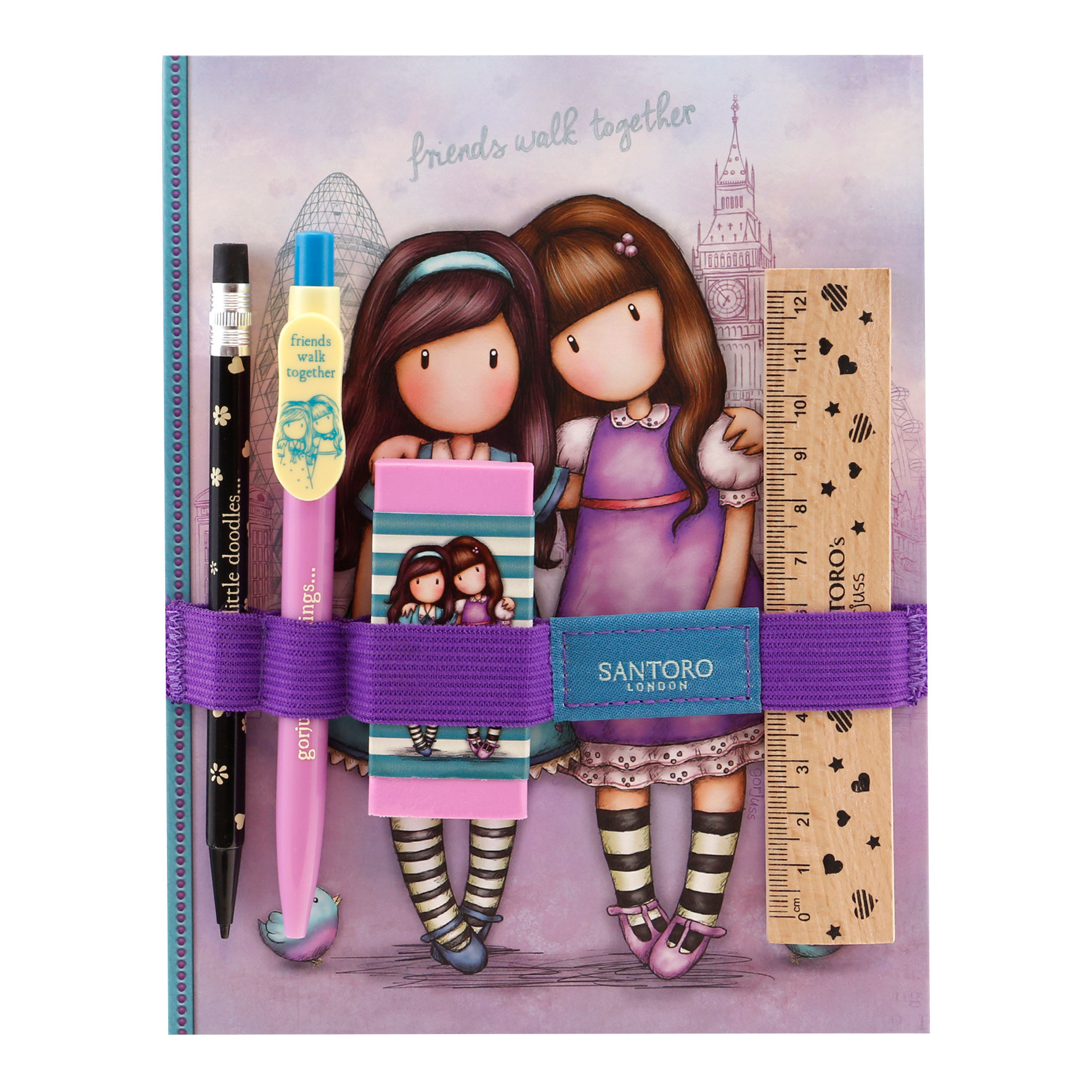 Gorjuss Cityscape Notebook with Stationery Set - Friends Walk Together