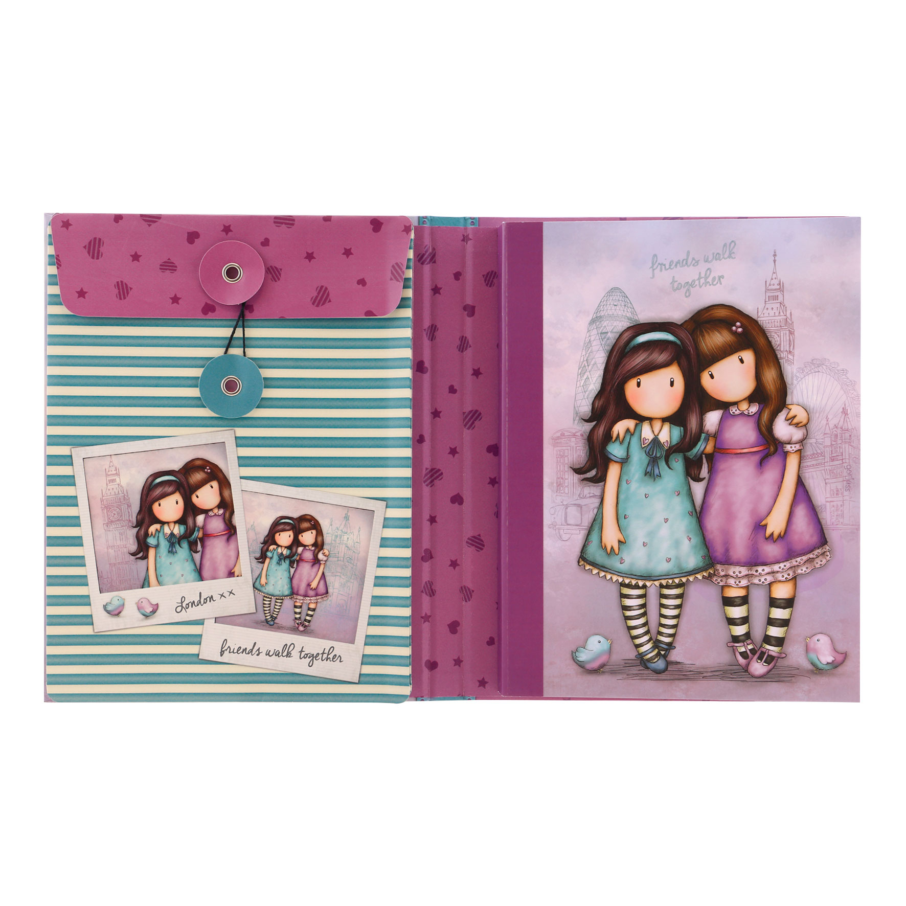 Gorjuss Cityscape Notebook with Stationery Set - Friends Walk Together (Inside)