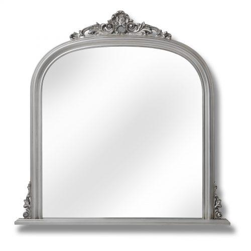 Antique Silver Over Mantel Mirror