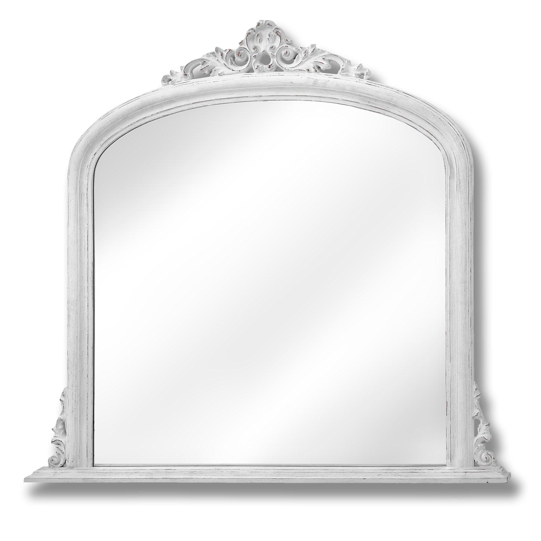 Antique White Over Mantel Mirror