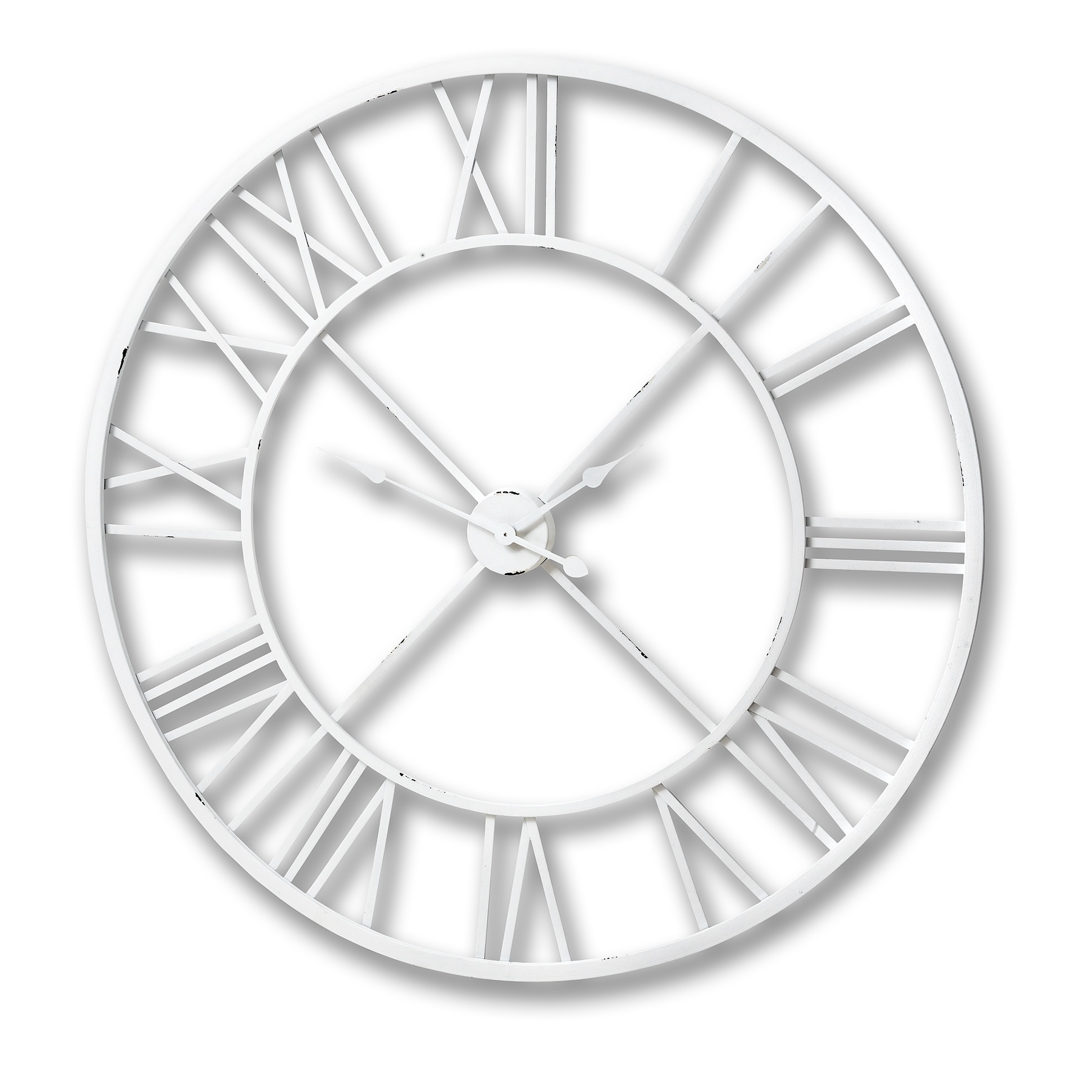 Antique White Roman Numeral Wall Clock