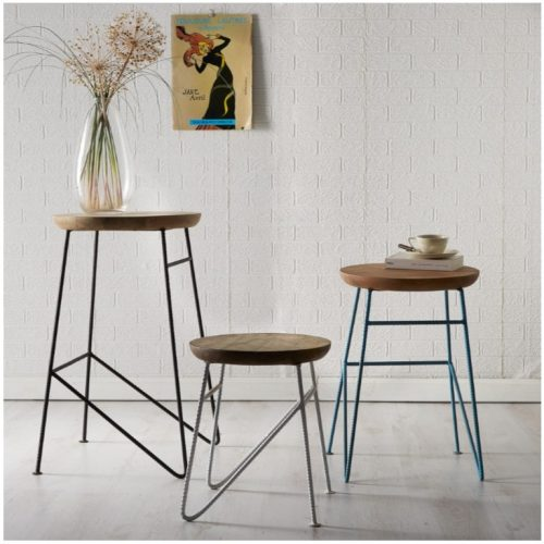 Aspen IronWooden - Round Set of 3 Stools
