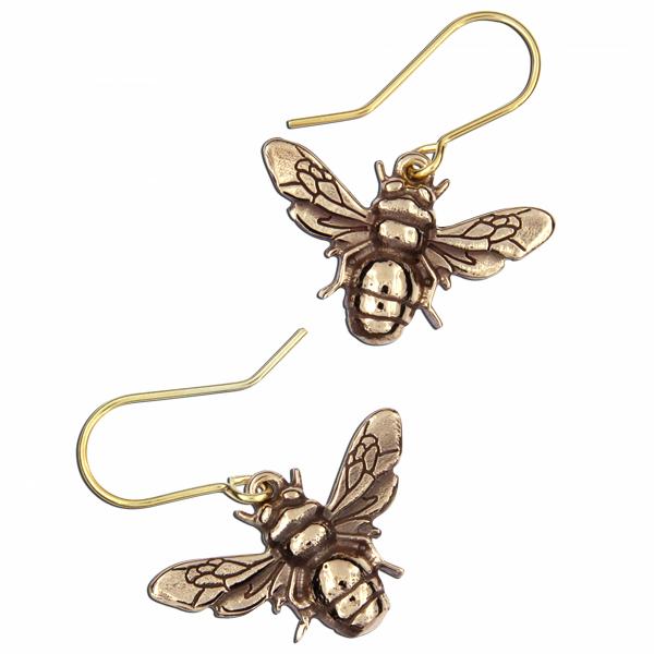 St Justin Bronze Bee Earrings