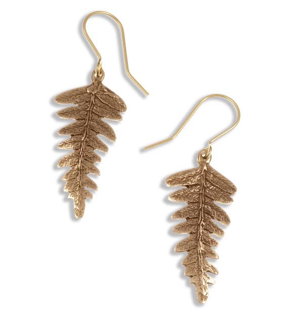 St Justin Bronze Fern Leaf Drop Earrings
