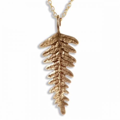 St Justin Bronze Fern Leaf Drop Pendant