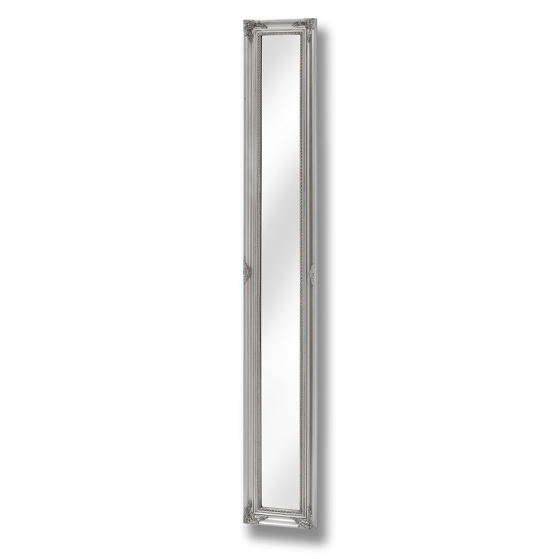 Baroque Slimline Antique Silver Full Length Mirror