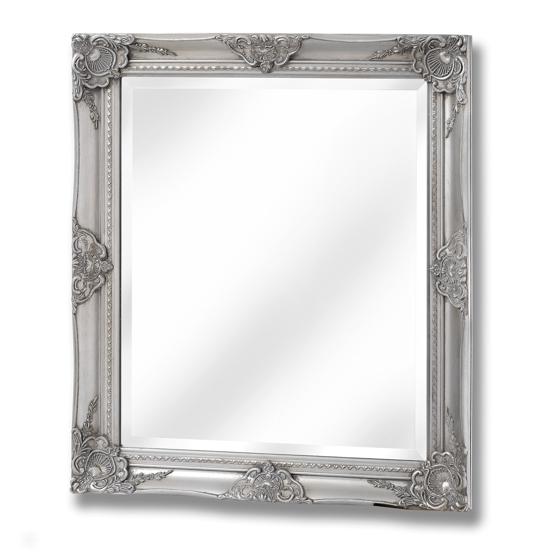 Baroque antique silver mirror