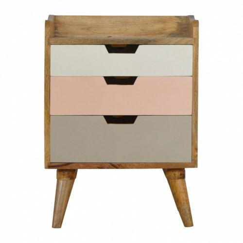 Bedside with Pink Hand Painted Cut Out Drawers