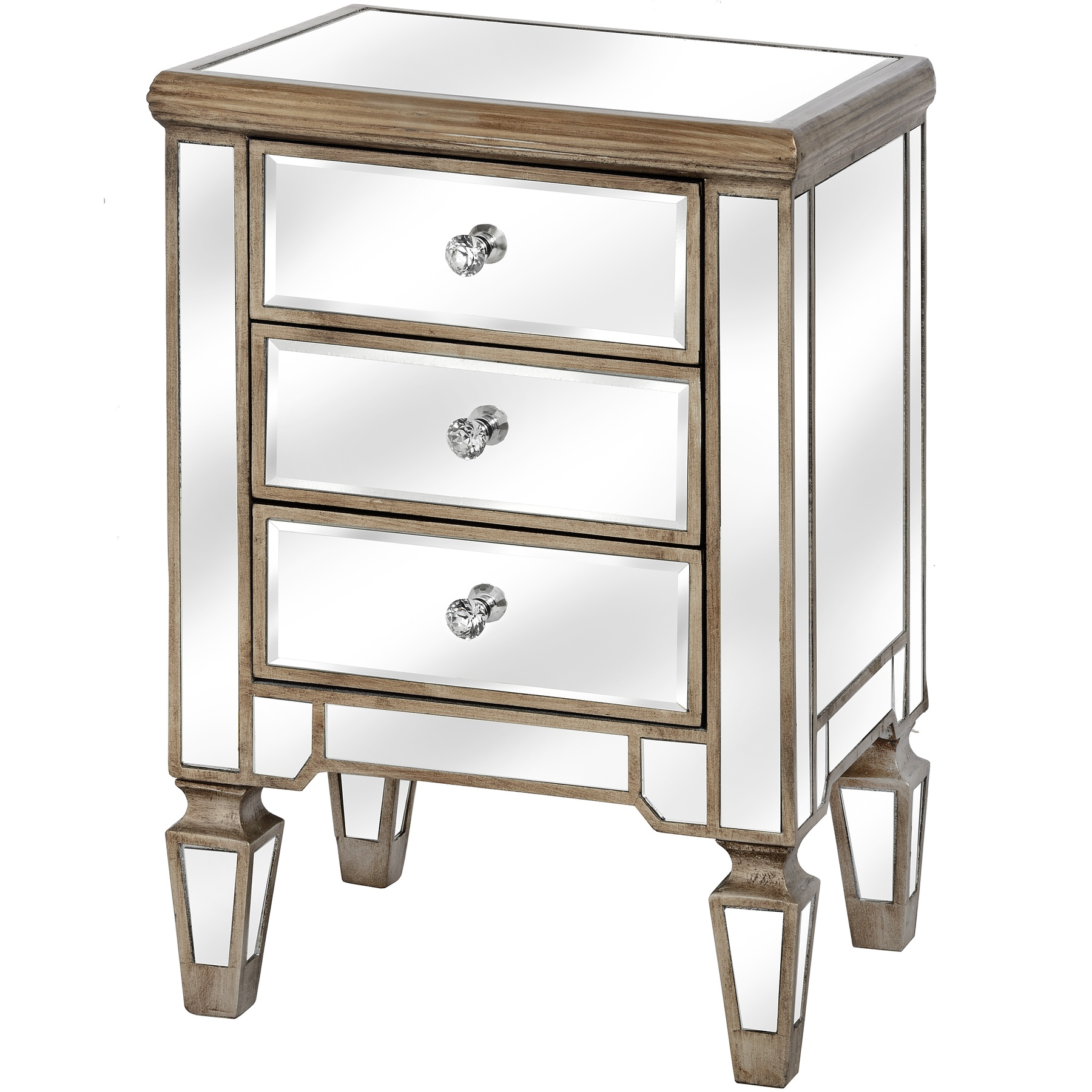 The Belfry Collection Three Drawer Mirrored Bedside