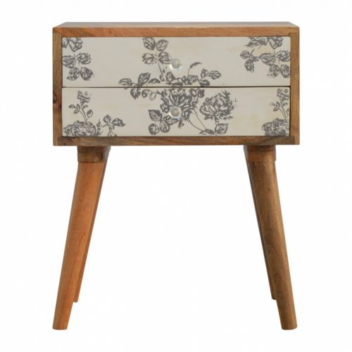 Black Floral Screen-printed Drawer Front Bedside