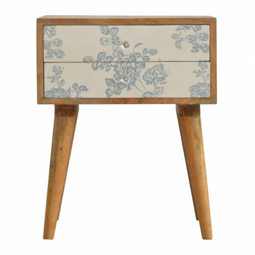 Blue Floral Screen-printed Drawer Front Bedside