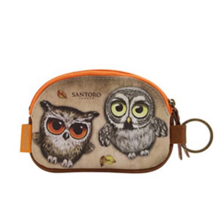 Book Owls Keyring Zip Purse - Back