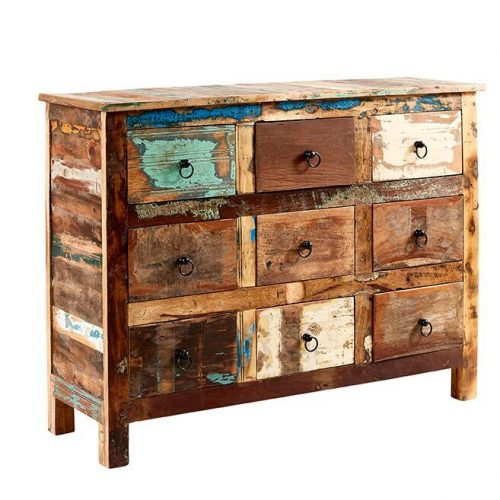 Coastal Reclaimed Wood 9 Drawer Chest