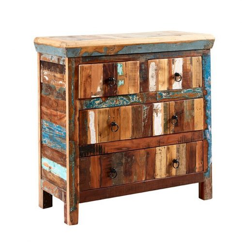 Coastal Reclaimed Wood 4 Drawer Chest