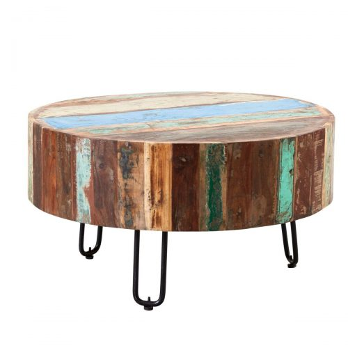 Coastal Reclaimed Wood Drum Coffee Table