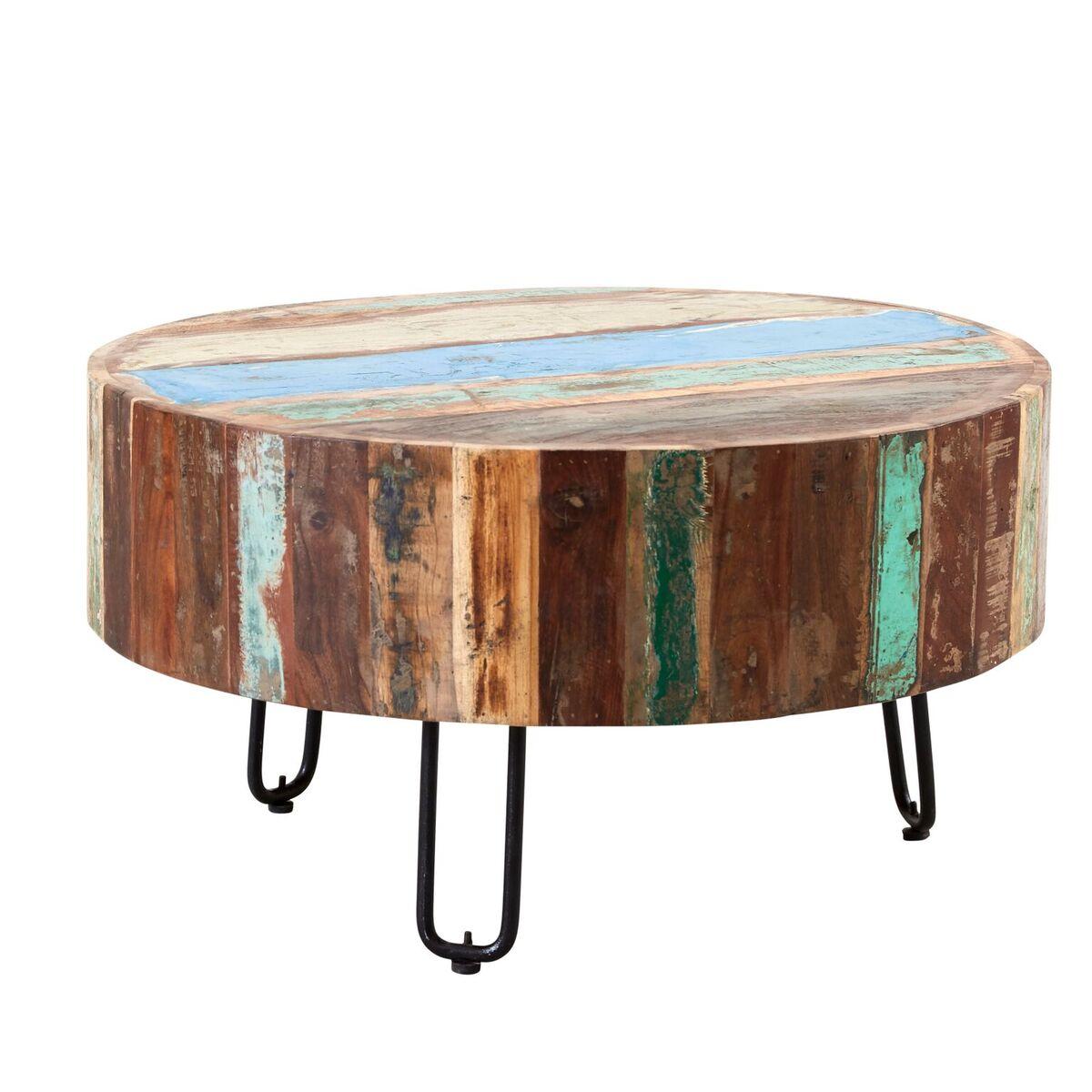 Coastal Reclaimed Wood Drum Coffee Table
