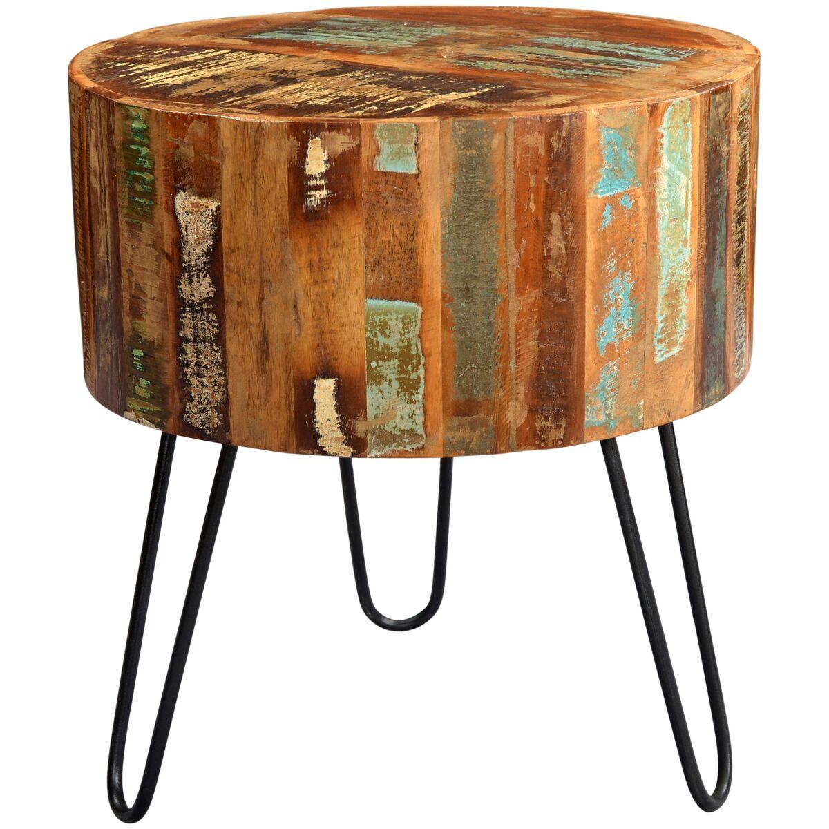 Coastal Reclaimed Wood Drum Side Table