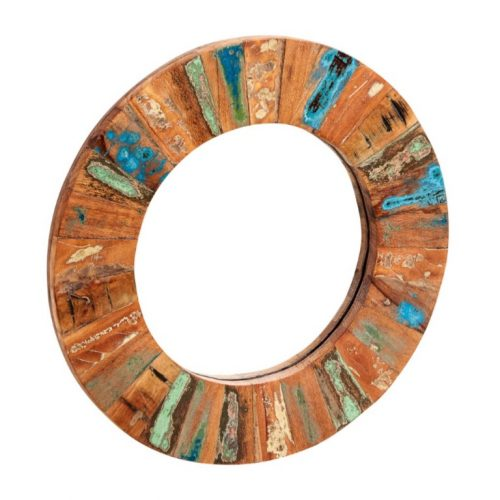 Coastal Reclaimed Wood Round Mirror Large