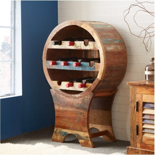 Coastal Reclaimed Wood Wine Cabinet