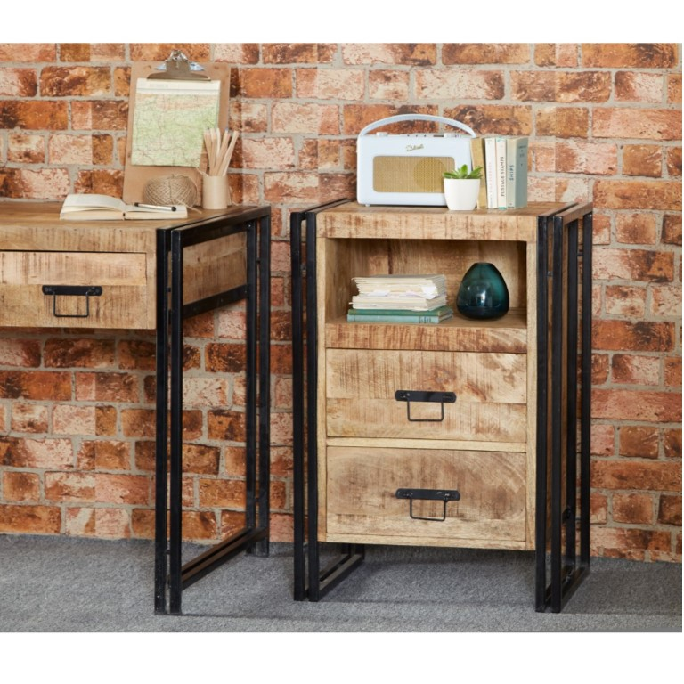 Cosmo Industrial 2 Drawer Chest Side Table