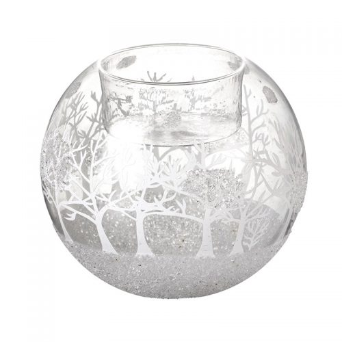 Glass Christmas Scene T-Light Holder