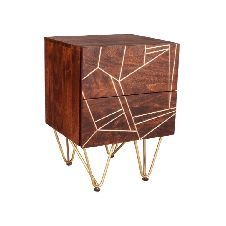 Dark Gold 2 Drawer Side Table
