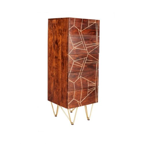 Dark Gold Tall Chest of Drawers