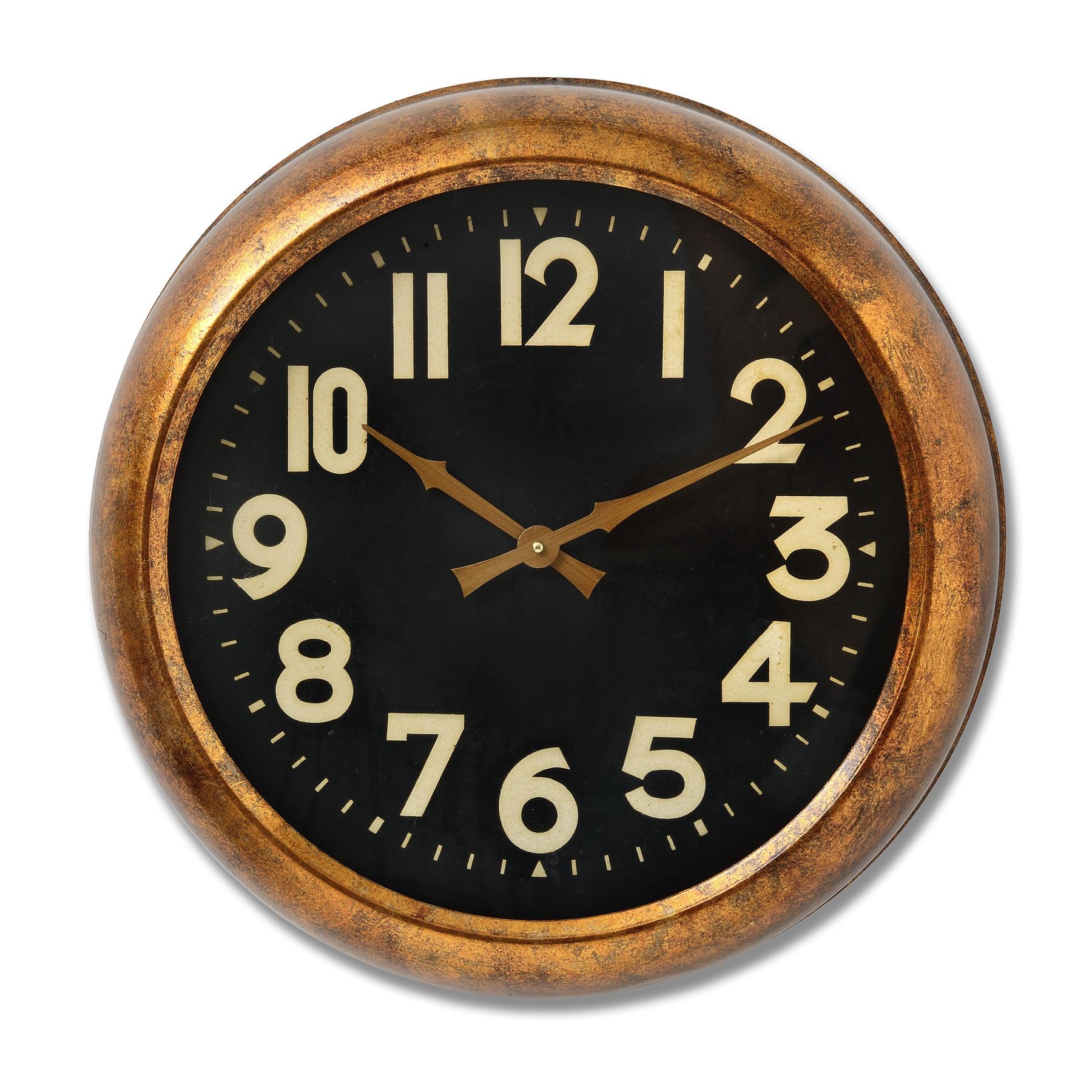 Deep Rim Gold Leaf Clock
