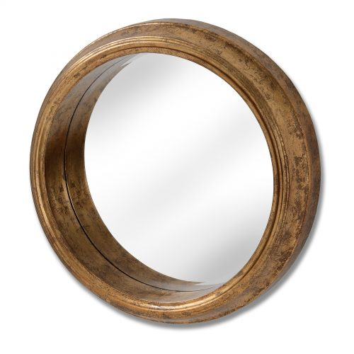 Deep Rimed Antique Gold Large Round Mirror